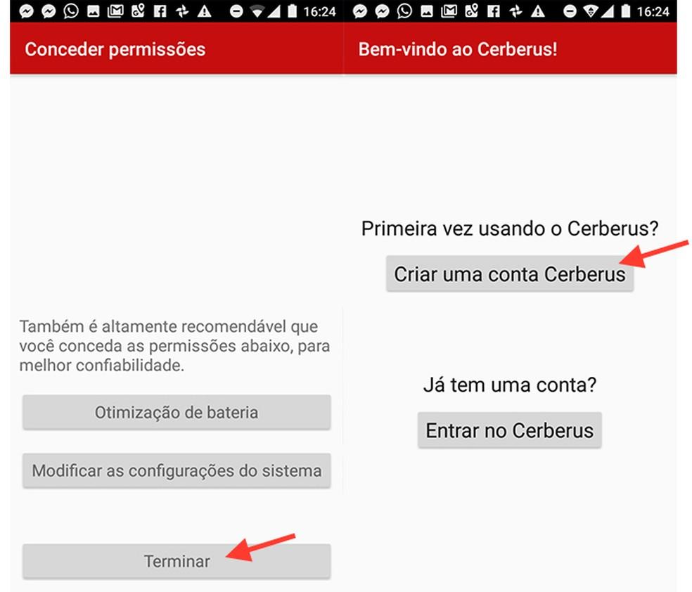 Caminho para criar uma conta no Cerberus através do aplicativo para Android (Foto: Reprodução/Marvin Costa)