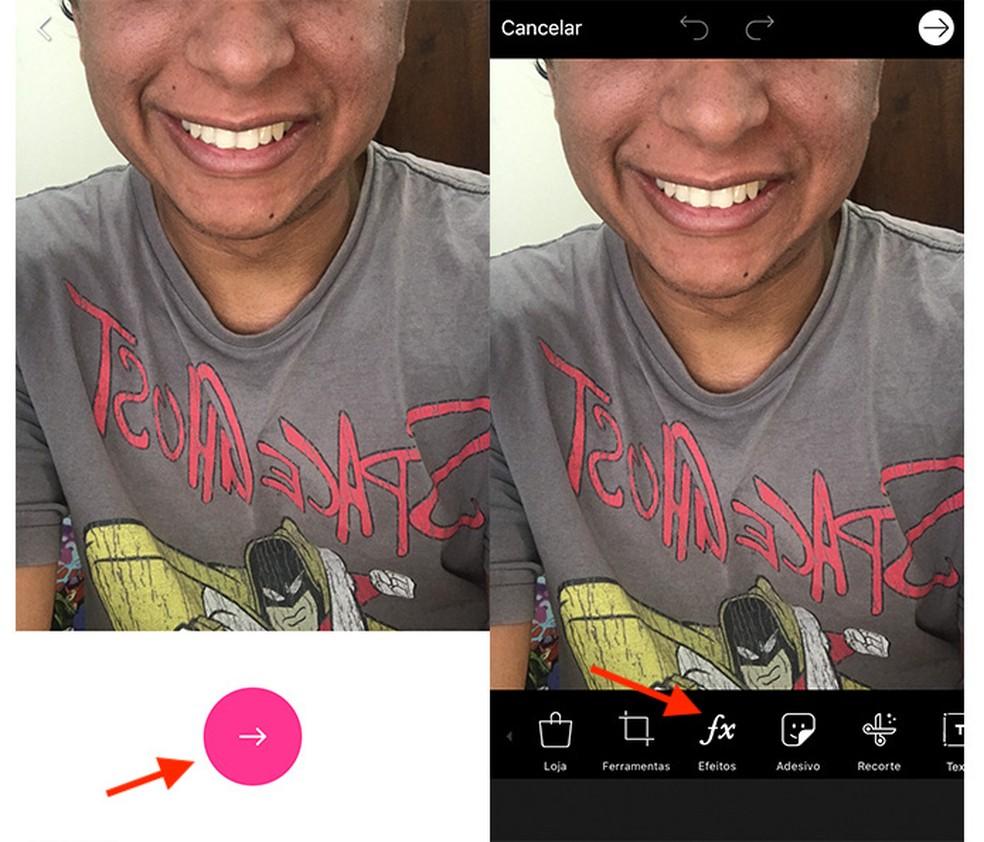 Caminho para acessar a tela de efeitos do aplicativo PicsArt (Foto: Reprodução/Marvin Costa)