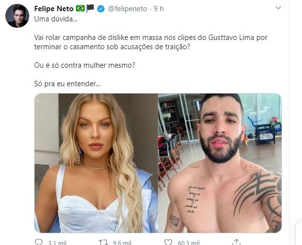 Felipe Neto compara separação de Gusttavo Lima e Andressa Suita com Luísa Sonza e Whindersson Nunes (Foto: Reprodução/Twitter)