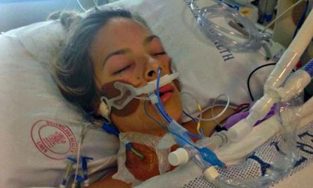 Shannon durante a internação por hemorragia após colocação de DIU (Foto: Reprodução)