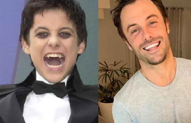 Kayky Brito viveu Zeca, criado por Lívia e Beto, mas filho do vampiro Bóris. O último trabalho do ator foi em 'Verão 90' (Foto: Globo e reprodução)