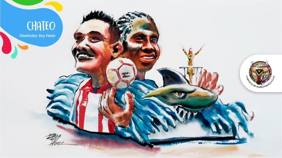 Dupla Yimmi Chará e Teo Gutiérrez faz sucesso no Junior e é chamada de #chateo nas redes (Foto: Reprodução/Twitter)