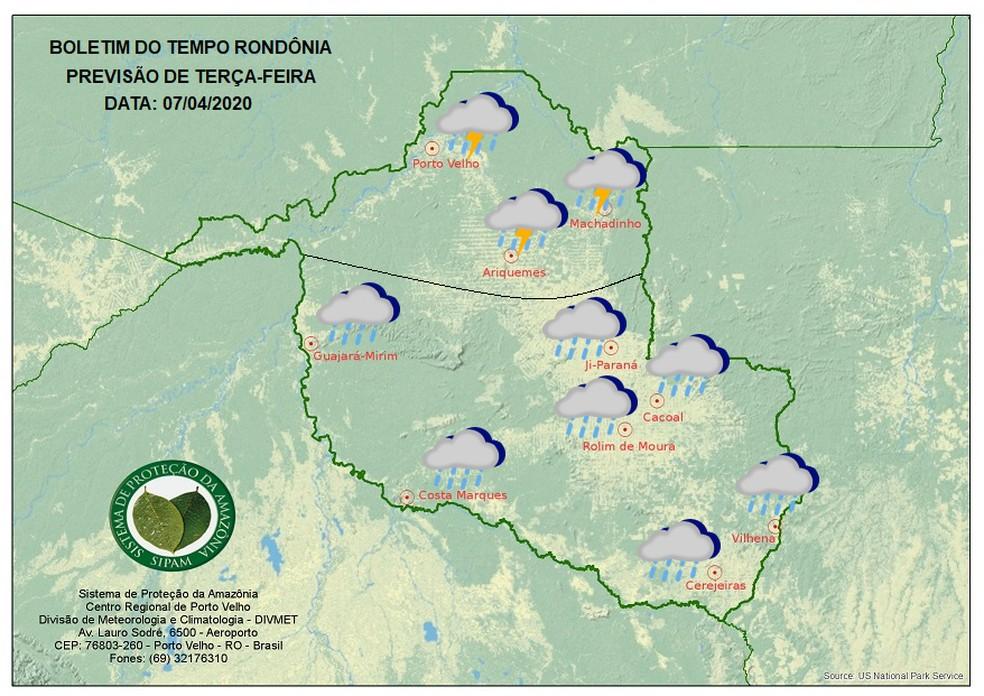 Previsão do tempo para Rondônia na terça-feira, 7 — Foto: Sipam/Divulgação