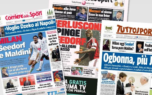 reprodução jornais itália seedorf treinador do MIlan (Foto: Reprodução)
