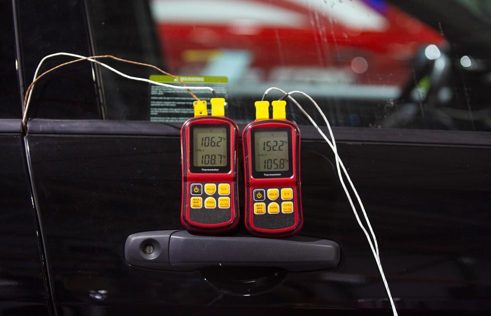 Sensores medem a temperatura na cabine da viatura — Foto: Divulgação