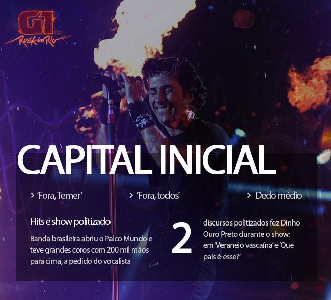 Capital Inicial faz show com 'Fora, Temer', protesto político e dedo do meio de Dinho
