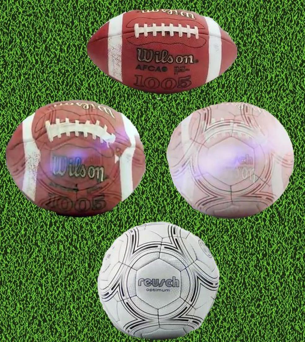 Na topologia, uma bola de futebol e uma bola de rúgbi são equivalentes, porque uma pode ser moldada para se transformar na outra — Foto: BBC