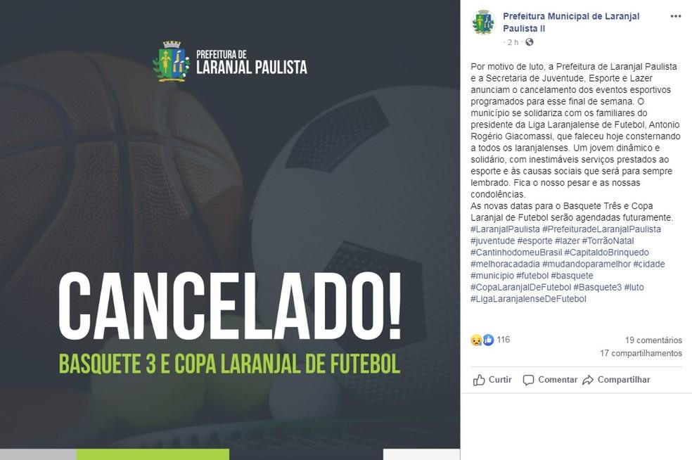 Prefeitura de Laranjal Paulista informou que cancelou eventos esportivos na cidade — Foto: Facebook/Reprodução