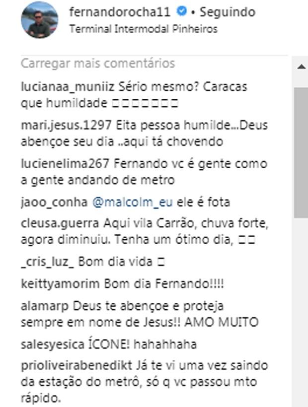 Seguidores comentam post de Fernando Rocha (Foto: Reprodução/Instagram)