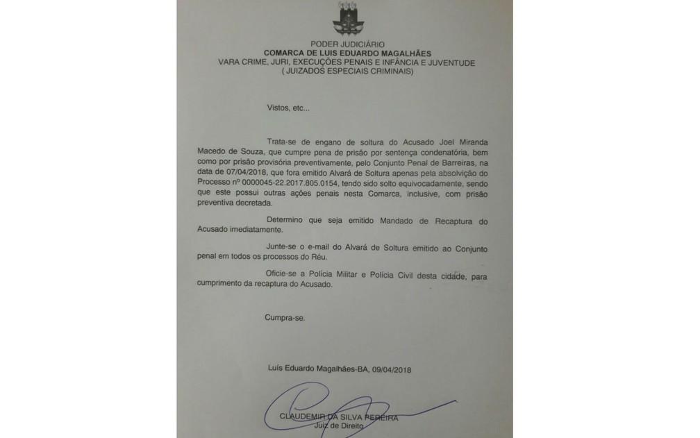 Juiz esclarece que soltura de Joel foi equivocada (Foto: Divulgação/Polícia Civil)