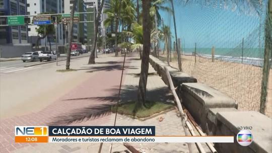 Ferrugem, buracos e falta de cuidados tomam conta da orla do Recife
