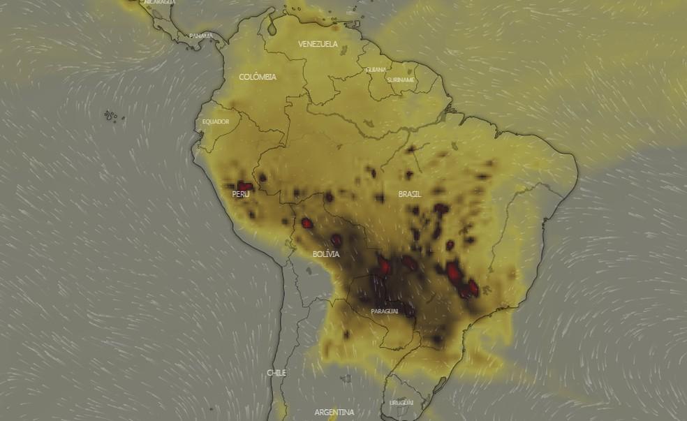 Mapa mostra ventos que levam monóxido de carbono para São Paulo e norte do Paraná. — Foto: Reprodução / Windy.com