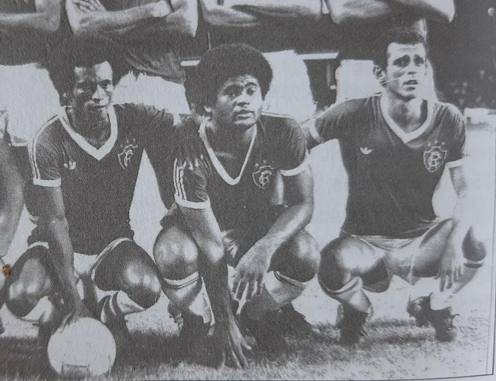 Mesquita, Bira (centro) e Júlio Cesar Uri Geller no Remo, em 1978 — Foto: Arquivo Ferreira da Costa/O Liberal