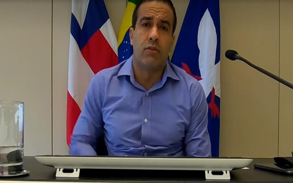 Prefeito Bruno Reis disse que aguarda redução nos números de casos para poder retomar a economia — Foto: Reprodução/TV Bahia