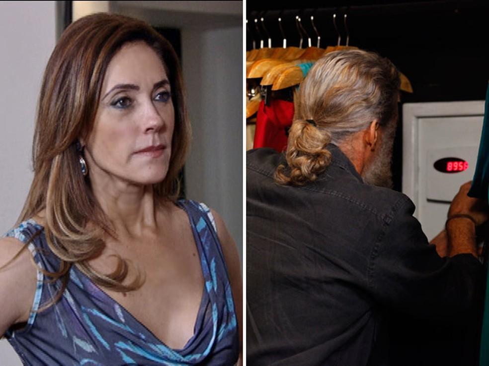 Tereza Cristina flagra Pereirinha roubando cofre da mansão em 'Fina Estampa' — Foto: Globo