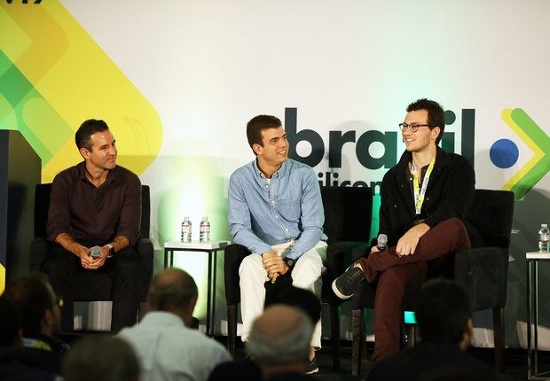 David Vélez, do Nubank, Henrique Dubugras, da Brex, e André Street, da Stone, no Brazil at Silicon Valley (Foto: Divulgação)