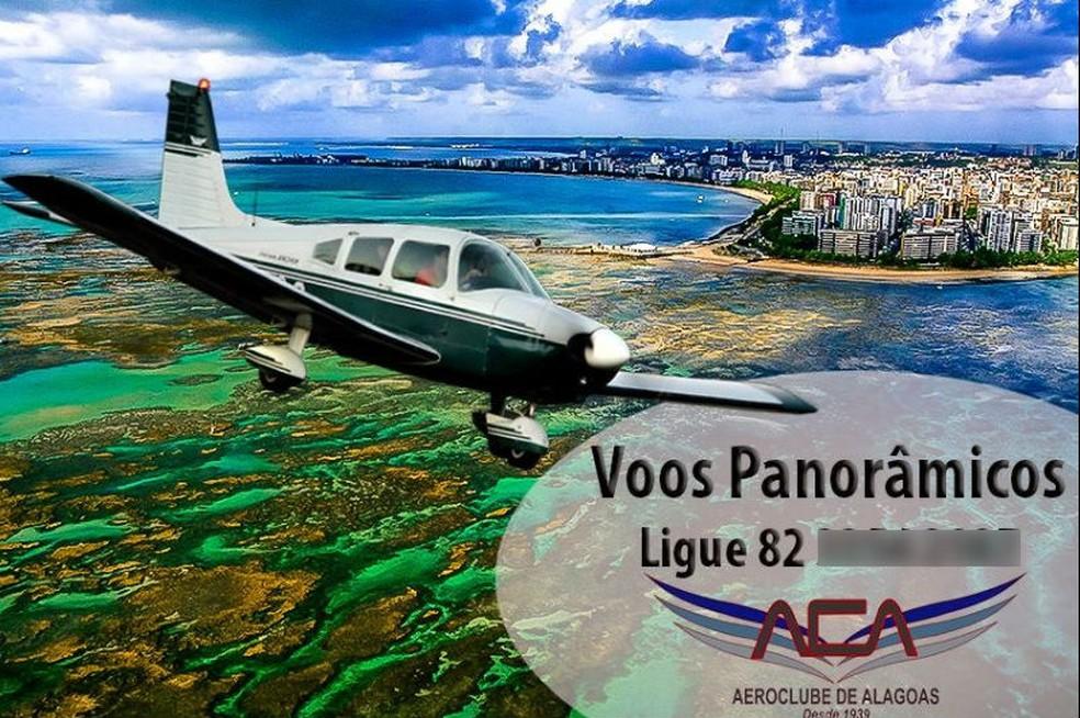 Aeroclube de Alagoas fazia voos panorâmicos com avião que levava Gabriel Diniz no dia do acidente — Foto: Reprodução/Facebook