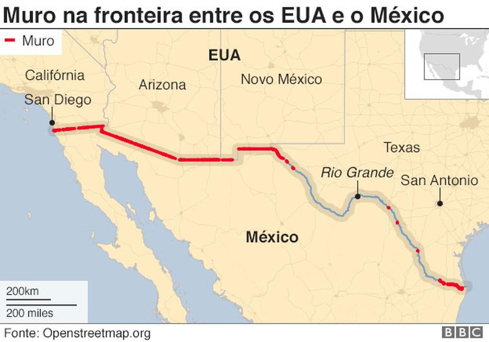 Muro na fronteira entre os EUA e o México — Foto: BBC