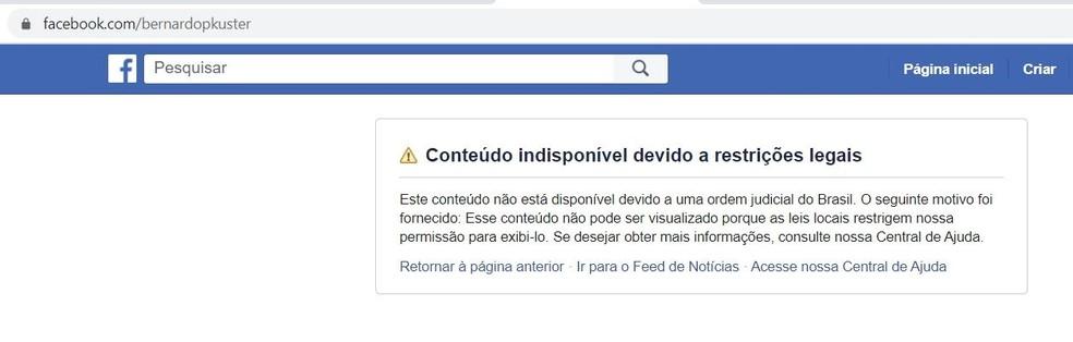 Conta do blogueiro Bernardo Kuster suspensa pelo Facebook após decisão do STF — Foto: Facebook/Reprodução