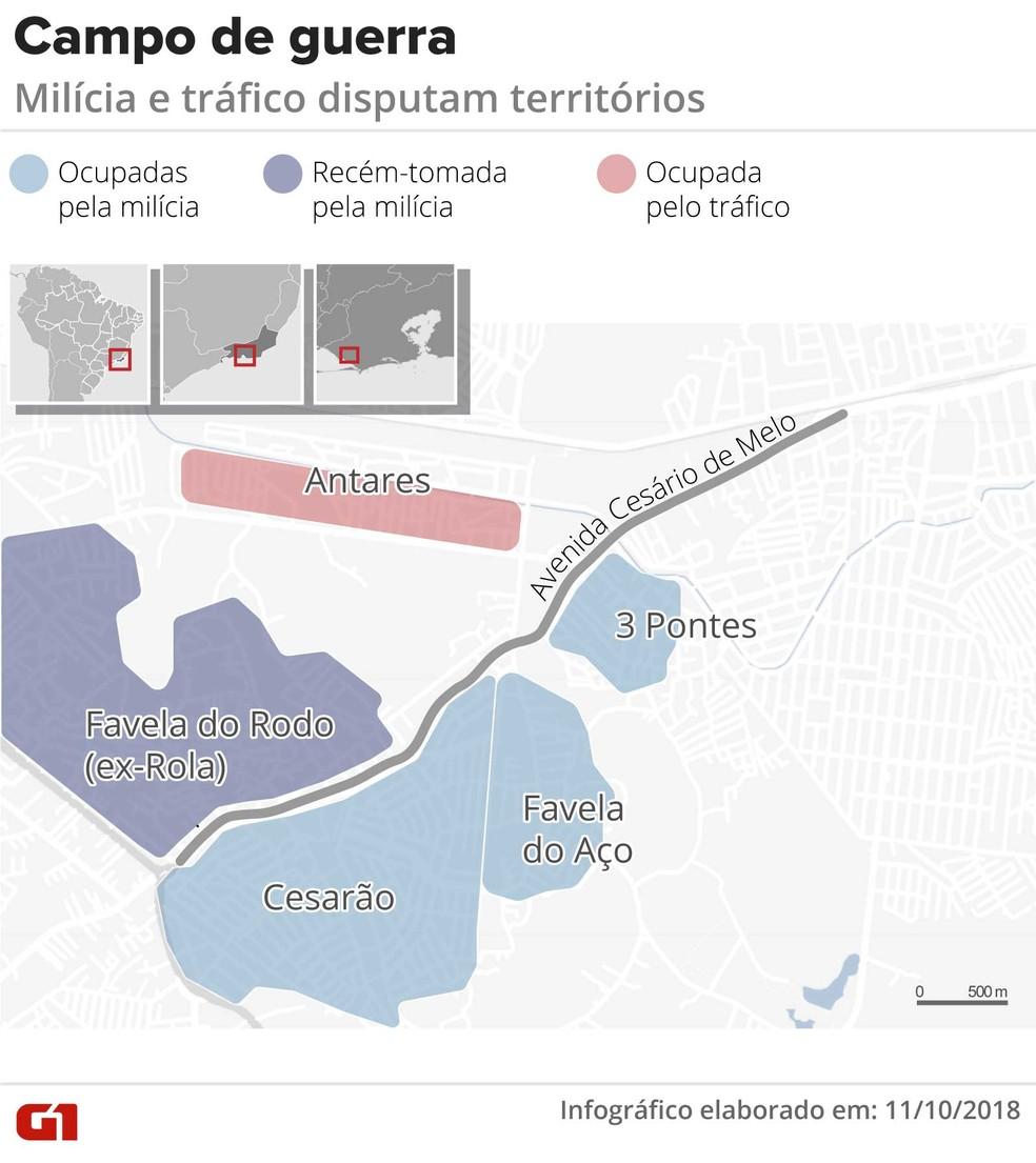 Mapa mostra a divisão de Santa Cruz por criminosos — Foto: Infografia: Claudia Ferreira/G1