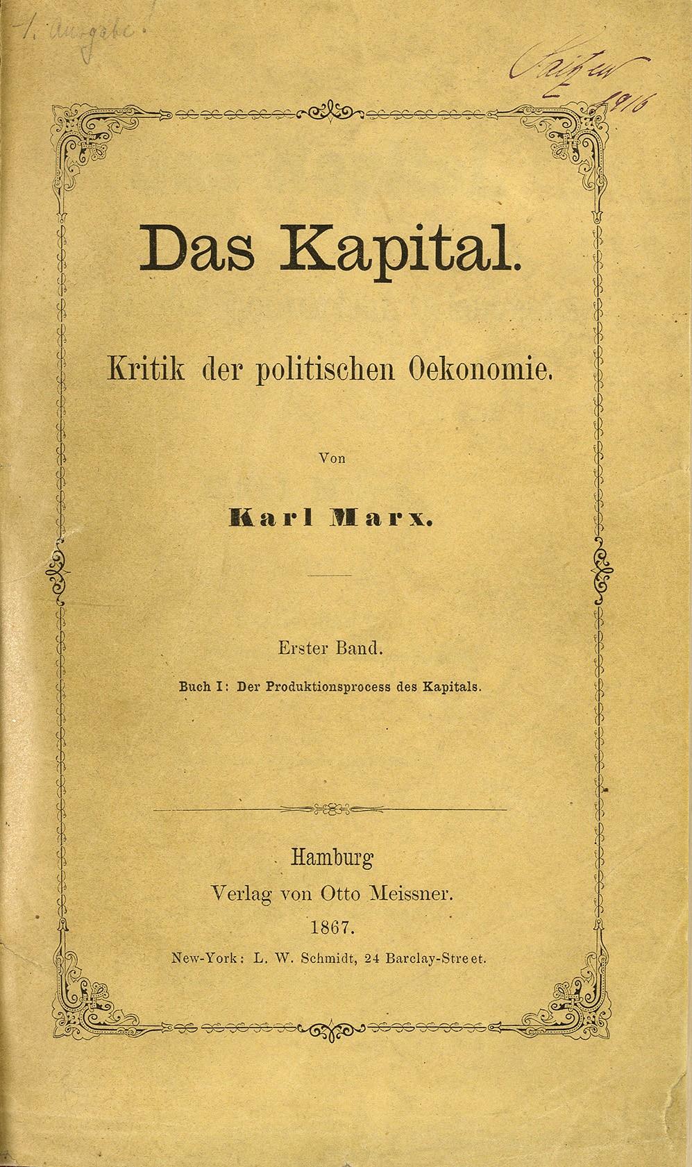 O Capital: Obra do pensador alemão que influenciou a revoluções comunistas no século 20 foi publicada pela primeira vez em 14 de setembro de 1867 (Foto: Wikimedia Commons)