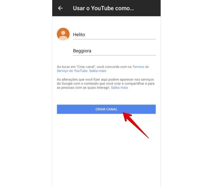 Criando um canal no YouTube pelo celular (Foto: Reprodução/Helito Beggiora)