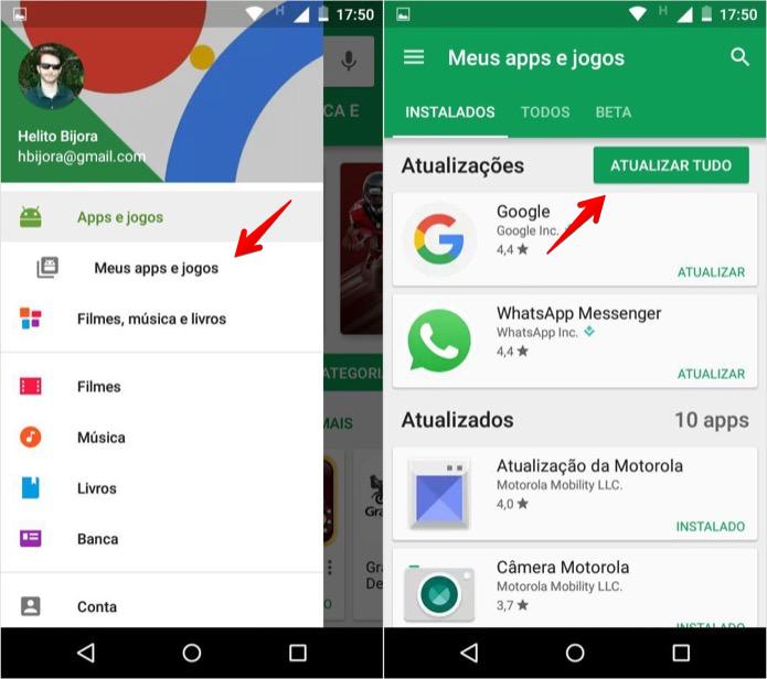 Atualizando os apps instalados (Foto: Reprodução/Helito Bijora)