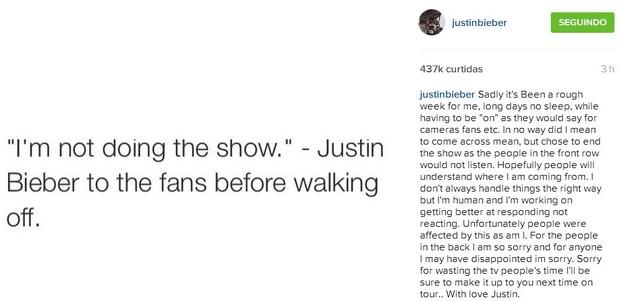 Justin Bieber pede desculpas em rede social (Foto: Reprodução Instagram)