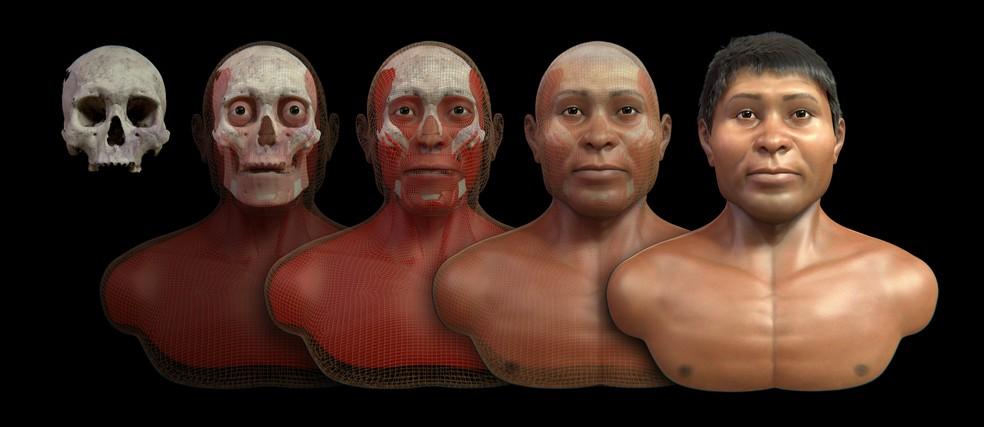 486219717 ... Designer reconstruiu digitalmente o crânio de um índio da etnia Xarayes  — Foto  Cícero Moraes