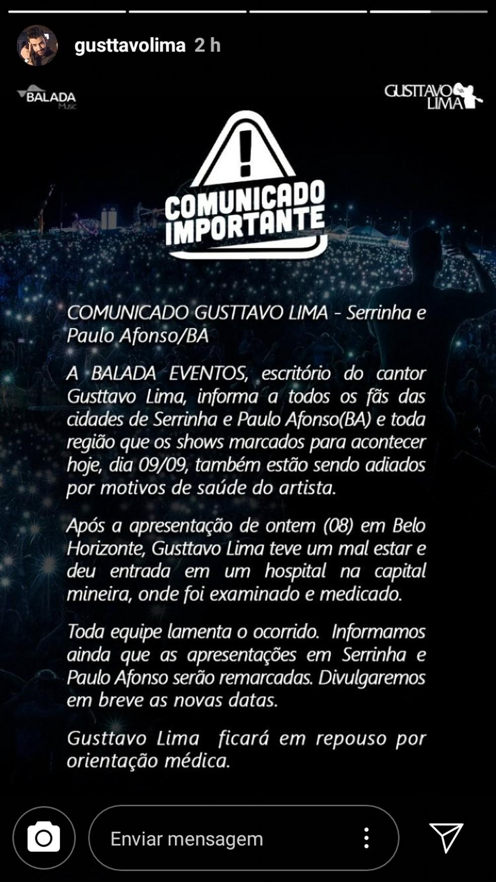 Produção do cantor Gusttavo Lima divulgou que shows na Bahia foram adiados após o artista passar mal (Foto: Reprodução/ Instagram)