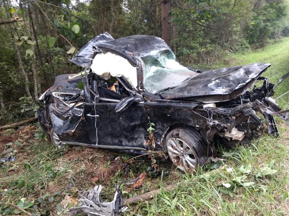 Carro bateu contra árvore na BR-470 — Foto: PRF/Divulgação