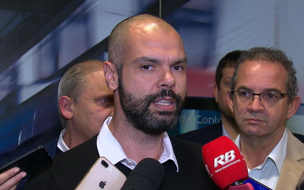 Bruno Covas em agenda na capital paulista — Foto: Reprodução/TV Globo