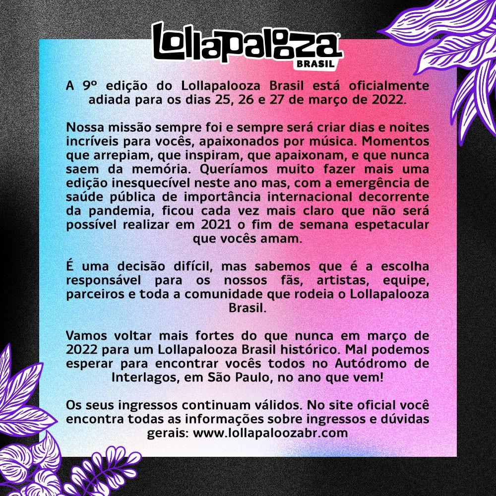 Comunicado do Lollapalooza (Foto: Reprodução/Twitter)