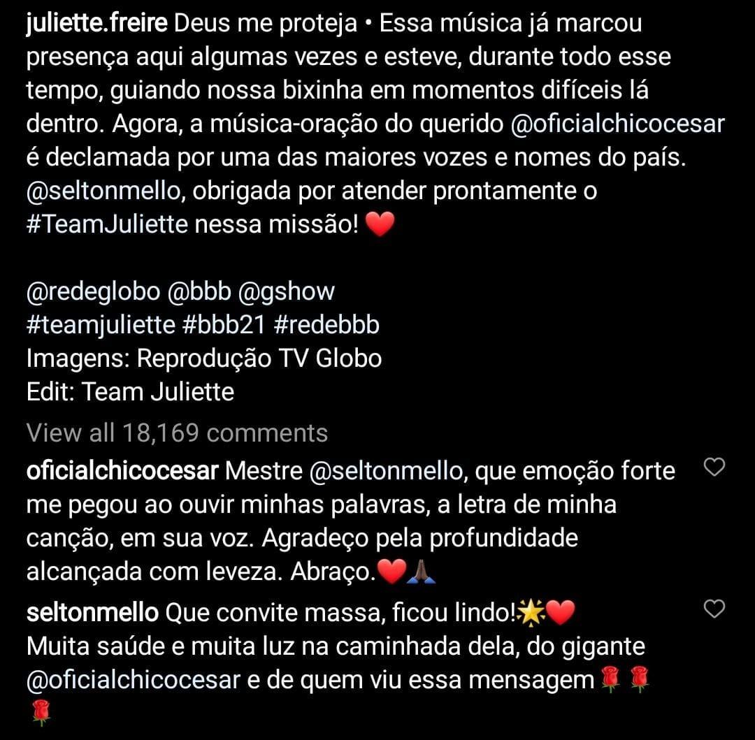 Selton Mello e Chico César comentam homenagem para Juliette (Foto: Reprodução/Instagram)