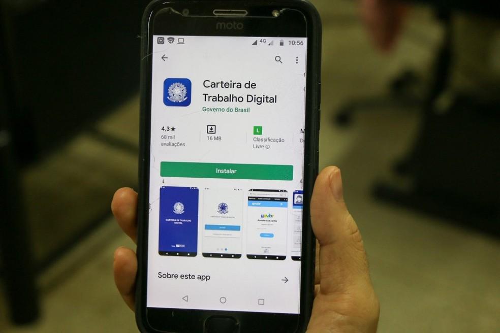 Aplicativo continua sendo o canal para dar entrada no seguro-desemprego — Foto: Divulgação/ME