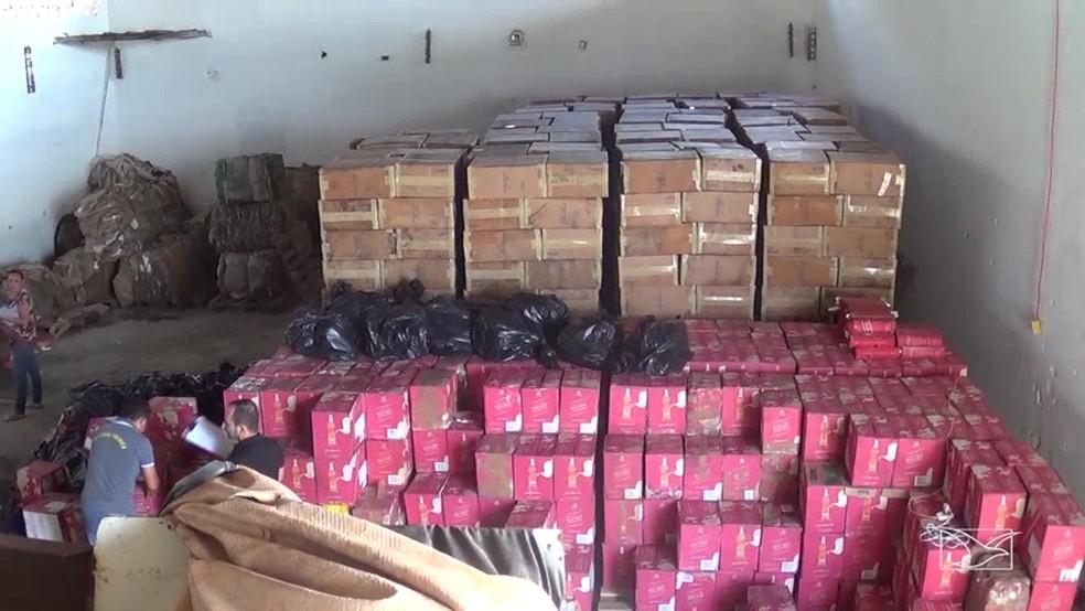 Laudo comprovou que o whisky encontrado em galpões foi importado de maneira ilegal (Foto: Reprodução/TV Mirante)