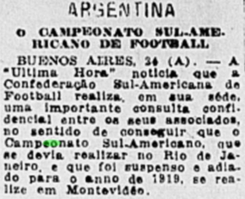 Em 1918, cogitou-se tirar a Copa América do Rio de Janeiro — Foto: Reprodução/Jornal do Brasil