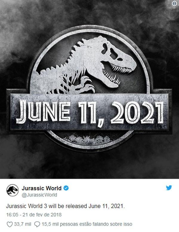 Franquia anunciou terceiro capítulo da saga jurássica pelo Twitter  (Foto: Reprodução/Twitter)