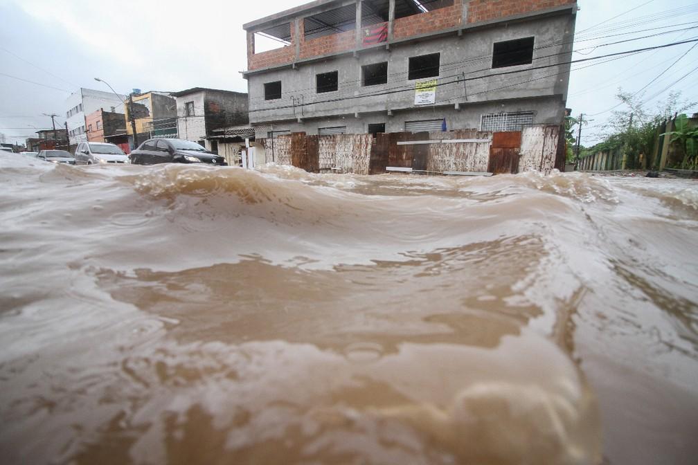 Avenida Cosme Viana, no bairro de Afogados, no Recife, foi tomada pela água nesta quarta-feira (11) (Foto: Marlon Costa/Pernambuco Press)