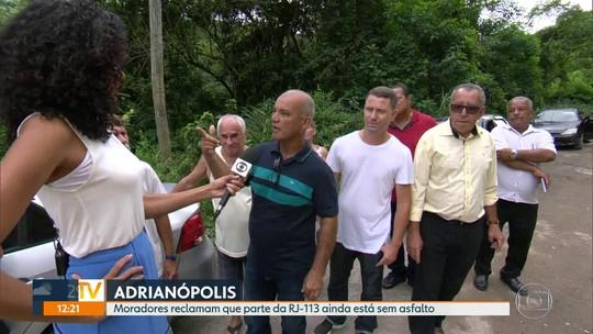Moradores de Adrianópolis, em Nova Iguaçu, pedem obras na RJ-113