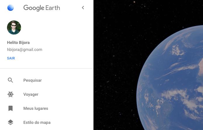 Menu principal do Google Earth (Foto: Reprodução/Helito Bijora)
