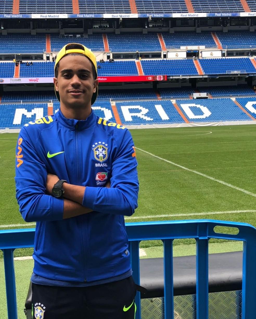 Reinier no Santiago Bernabéu, estádio do Real Madrid — Foto: Reprodução/Instagram