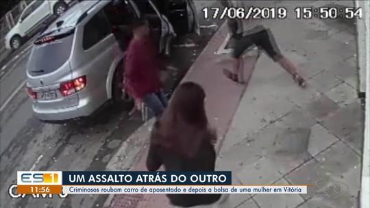 Criminosos roubam carro de aposentado e depois a bolsa de uma mulher em Vitória