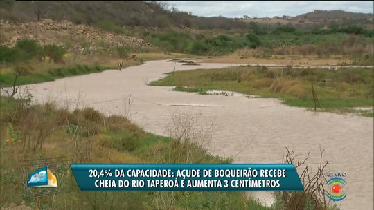 Volume do Açude de Boqueirão aumenta 3 cm após cheia no Rio Taperoá, no Cariri da PB