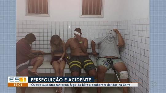Quatro são presos após perseguição terminar em colisão na Serra, ES