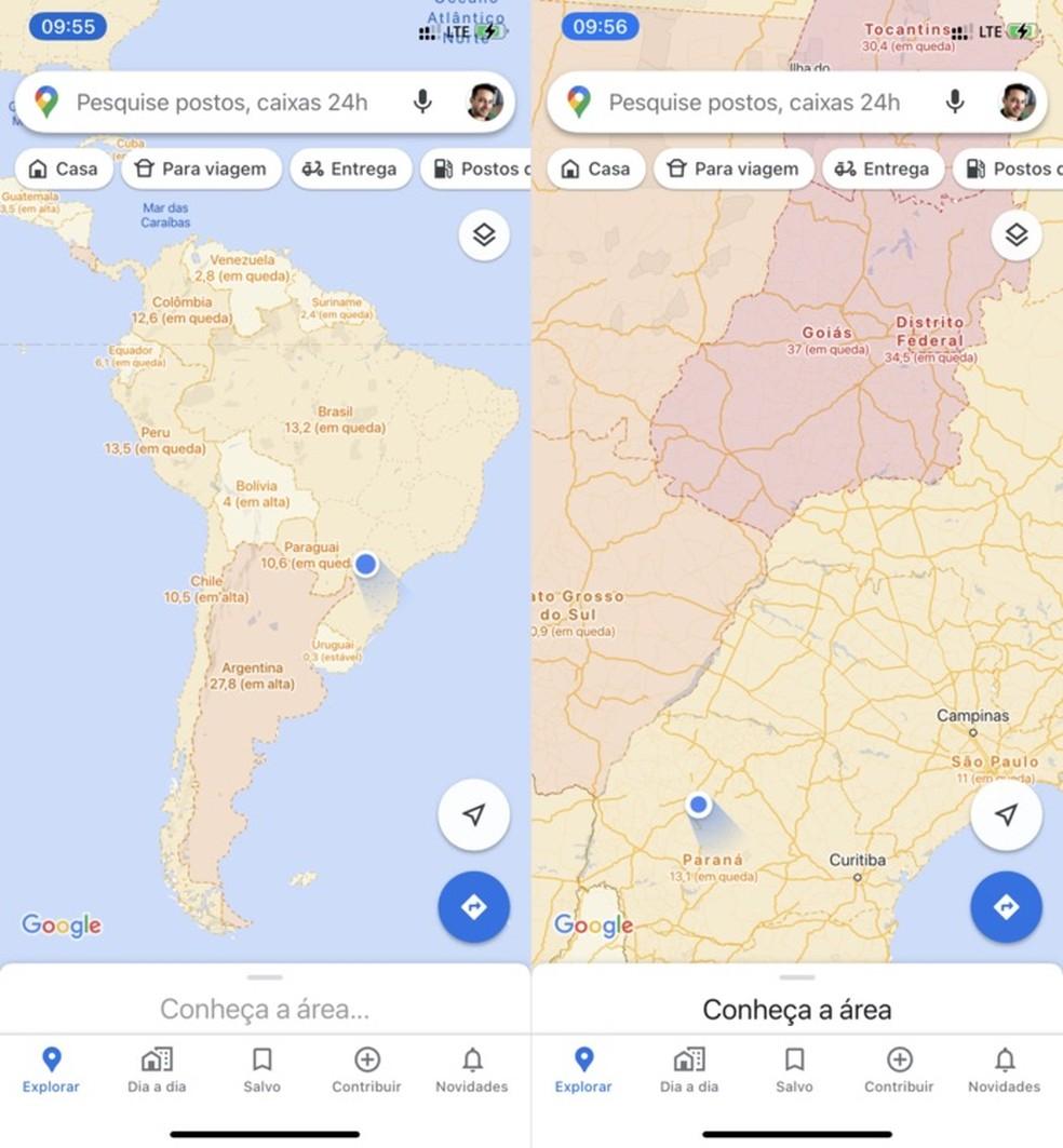 Informações sobre casos de Covid-19 em cada país e estado — Foto: Reprodução/Helito Beggiora
