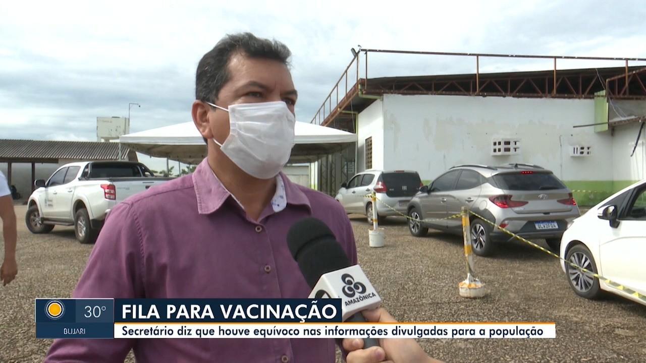 Secretário de Saúde explica confusão e fila para vacinar idosos em Rio Branco