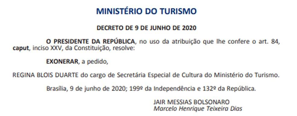 Exoneração de Regina Duarte do cargo de secretária especial de Cultura — Foto: Reprodução / Diário Oficial da União