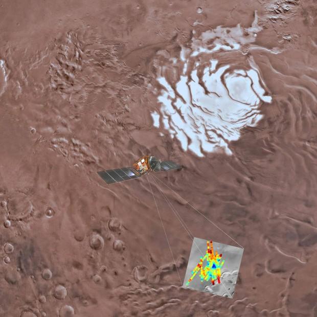 Mosaico colorido de Planum Australe, a calota polar no sul de Marte. Região em azul corresponde aos reflexos mais fortes, que seria de um lago sob 1,5 km de gelo (Foto: USGS Astrogeology Science Center, Arizona State University, INAF)