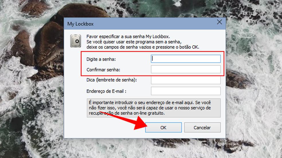 Defina a senha de bloqueio do My Lockbox (Foto: Reprodução/Paulo Alves)